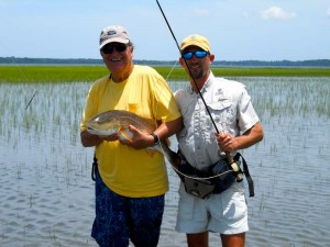 Big Red fish on Fly Fishing Line